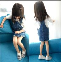 girl adjustable jeans 2015 New dress with hole girl clothing kids overalls denim one-pieces suspender dress bebe meninas vestido