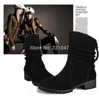 NEW British Style Suede Scrub Genuine leather boots Low heels Round head Sleeve Rivet women Martin boots Winter Keep warm Velvet