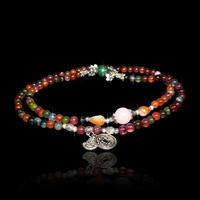 QMODE Stone Natural Brazil Tourmaline Beads Bracelet Multilayer Buddha & Coin Charm Fashion Bracelet for women