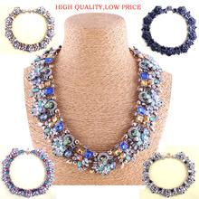 New 2014 Za fashion necklace Antique metal black crystal necklace & pendant statement necklace women wholesale price Mix design(China (Mainland))