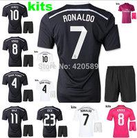14/15 Real Madrid Champions League black soccer football jersey kits, 2015 JAMES Ronaldo KROOS best quality soccer uniforms