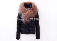 2014 New Women's Down Coat Color Black Blue Really Raccoon Big Fur Lady Down Jacket Warm Winter Jacket Coat Women Down Parkas