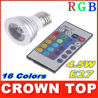 2PCS AC85-265V 16 Colors changing RGB LED Lamp 4.5W E27 RGB LED Bulb Lamp Spotlight with Remote Control with tracking number