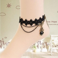 Trendy Gothic Vintage Royal Women's Heart Anklet Banding Anklebones Handmade Jewelry Accessories