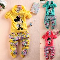 Retail 2014 New clothes sets, Spring Autumn baby girls Sport suit set cartoon long sleeve children hoodies sets hoodies+pant.