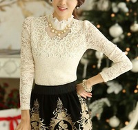Free Necklace!! Lace Womens Blouses Mint Embroidery Ladies Tops Fall Winter Turtleneck Chiffon Blousa Plus Size Formal Workwear