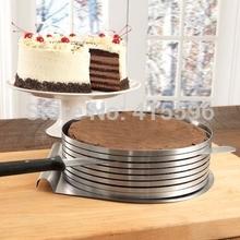 España marca Adgustable 9 - 12 pulgadas Cake Slicer Layer Cake rebanar Kit pastelería Mousse de acero inoxidable anillo + envío gratis(China (Mainland))