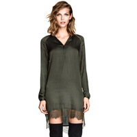 Asymmetrical Army Green Long Sleeve Lace Hem Stitching Decorative Dress Autumn Dress 2014 New Design Dropshipping