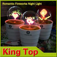 Christmas lighting AC220V EU/ US Pulg Flower Bonsai Led nightlight Romantic lighting lamps Love Rose Fireworks with CE ROHS 1PCS