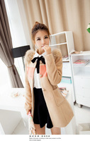 2014 new winter Korean foreign Shrug Fox fur collar  slim female Long sections woolen coat Windbreaker jacket multicolor