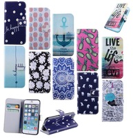 Hot Sale For iPhone 6 4.7'' Flower Live Anchors Pineapple Stand Style PU Leather Holder Wallet Cover Case For iPhone6 4.7 inch