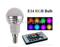 3W RGB E14 LED Light Bulb Lamp Spotlight AC85-265V + IR Remote Control 16 Colors Changing Free Shipping