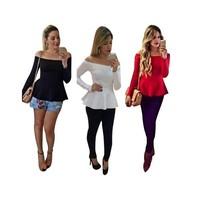 11.11 Sales! New Fashion Slash neck Off Shoulder Shirt Women Mini Red Black White Blouses Blusas Femininas