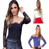 Blusas Femininas 2014 New Fahion Women Blouses O-neck Long Sleeve Sexy Bodycon Lace Shirts Chiffon Blouses White Black Red Tops