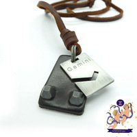 Free Shipping, 2014 The Zodiac Series - Gemini Charms Genuine Long Leather Necklace Sweater Chain for Men Woman Birthday Gift