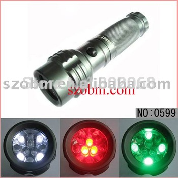 RGW 11 Leds 3-Color Led Signal Flashlight 3xAAA Red-Green-White Led Caution Light