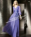 2013 New Elegant Fshion V-Neck Long Sleeve Evening Dress Gown With Sashes Chiffon Purple MD162