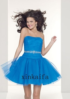 Beaded Blue Organza Cocktail Party Dress Mini A-Line Scalloped Off-Shoulder Cocktail Party Dress Custom