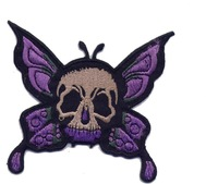 Wholesales 50pcs /lot heat seal skull&butterfly series embroidery badge N2013 p