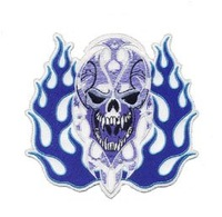 Stock 5pcs of Embroidery biker Badge--Skull with Fang and Fire