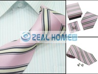Wholesale tie,100%silk shirt tie+hankerchief+cuff button,stripes tie with 2colorways10sets/lot,s170