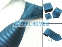 Wholesale neckties, ties,shirts ties+handkerchief+cuff button,blue tie with stripes,10sets/lot,s240
