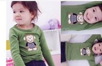 fre shipping -baby kids Cartoon long sleeve T shirt 3 colors kids clothes 24pcs/lot
