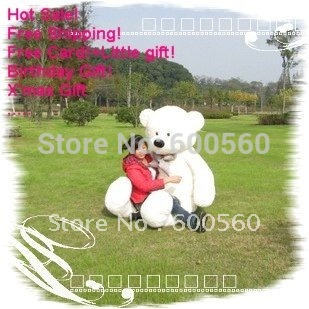 White Color Giant Plush Stuffed Teddy Bear 3 Colors 78 INCHES (200cm) Free Shipping FT90056
