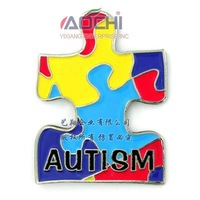 Free Shiping Best Sell High Quality Autism Awareness Jigsaw Puzzle Ribbon Lapel Pins
