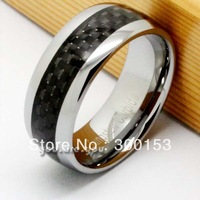 NEW 8mm Tungsten Carbide Black  Fiber Inlay Mens Ring Band Wedding Gift SIZE 8 9 10 11 12