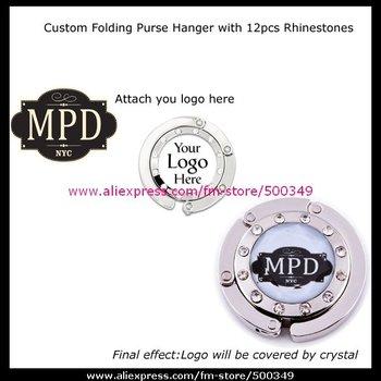 Customize Purse Hanger Hook Custom Your Own Logo Handbag Hanger Bag Holder with 12pcs Rhinesones Border