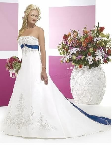 White Blue Train Bridal Wedding Dress Prom Gown Custom