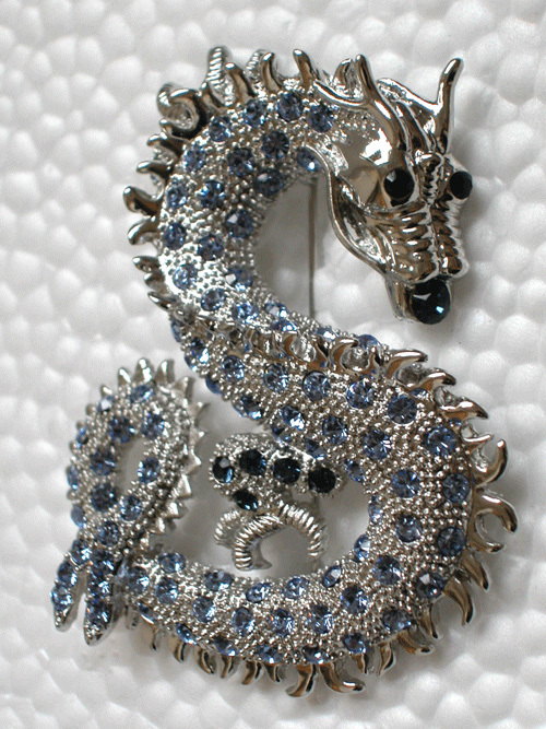 Wholesale 12piece/lot Montana Crystal Fashion Dragon Costume Pin Brooch C512 A(China (Mainland))
