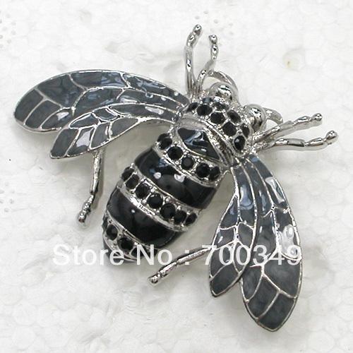 Wholesale 12piece lot Black Crystal Brooches Rhinestone Honey Bee Pin Brooch Fashion jewlry gift C709