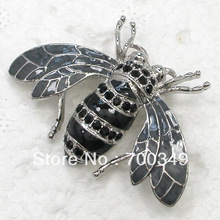 Wholesale 12piece/lot Jet Crystal Honey Bee Pin Brooch C709