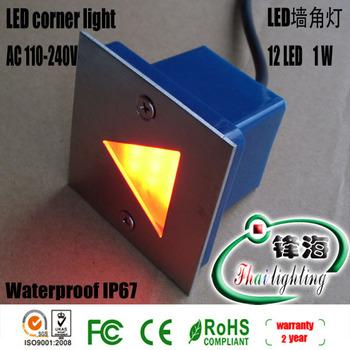 Free shipping wholesale 1W 12LED led corner light led underground light led Buried light led wall light IP67 Warranty 2 years