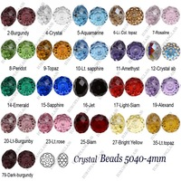 1000pcs 5040 Rondelle 4mm Mixed Color Crystal Beads U Pick w/Gift & Free Shipping