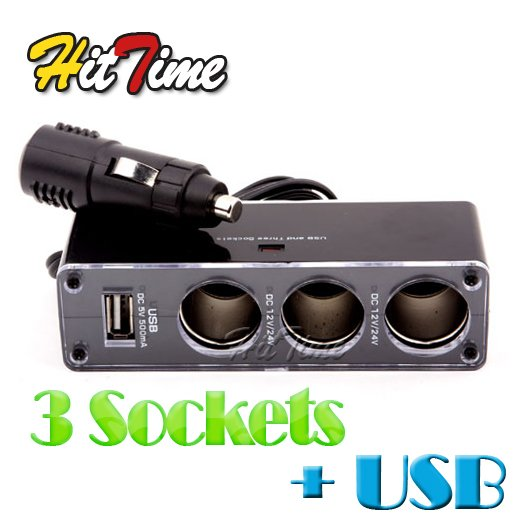 1Pcs 3 Socket Car Cigarette Lighter Charger USB Port Adapter [753|01|01](China (Mainland))
