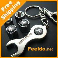 Car Tire Valve Caps 4pcs + wrench key chain for Citroen logo #1020