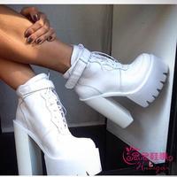 Jc Buckle women's boots high heels platform punk autumn winter genuine leather thick heel boots