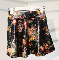 Small fresh floral print short skirt floral print half-length skirt women leather skirts  (A2562)