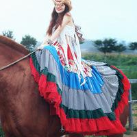 [LYNETTE'S CHINOISERIE - MOK ] Summer Original Design Women Patchwork Color Block Bohemia Style 12 Meters Hem Chiffon Lace Skirt
