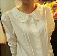 2014 Peter pan collar shirt women blouse long-sleeve shirt preppy style women's school wear 100% cotton Leisure basic shirt