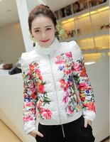 2014 Winter women's Short design slim stand collar outerwear flower print thin down coat Free shipping