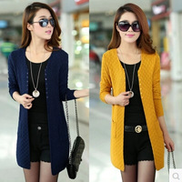 autumn and winter female medium-long plus cardigan loose sweater cape all-match outerwear top  Lady Loose Warm Sweater Coat