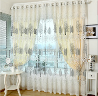 2014 new arrival white leaves window tulle flat blackout curtains for windows living room bedroom cortinas para quarto blinds
