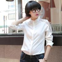2014 autumn fashion stand collar cutout long-sleeve shirt white colorant match lace women's shirt