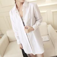 Casual medium-long brief white shirt fashion punk long-sleeve shirt female