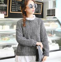 2014 women's fashion houndstooth patchwork women's long-sleeve woolen t-shirt faux two piece set