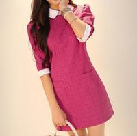 2014 autumn and winter women formal slim elegant peter pan collar one-piece dress